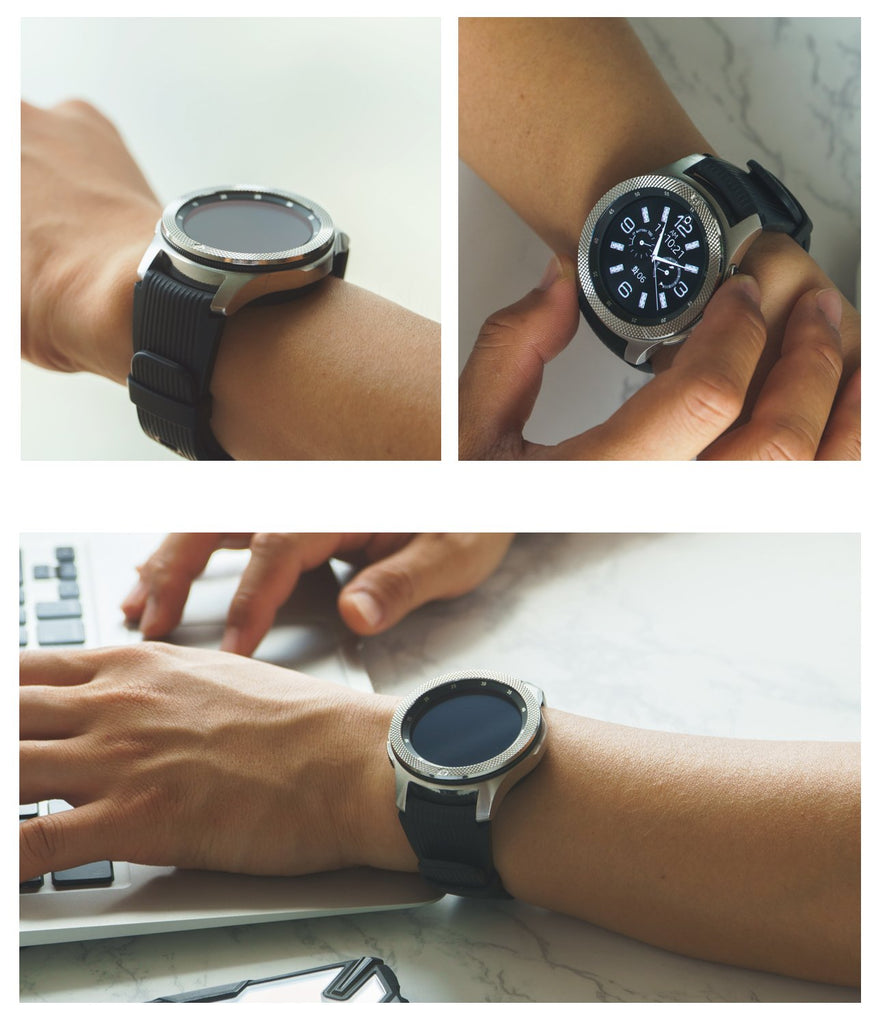 man wearing a galaxy watch 46mm with the bezel styling 46-42 on