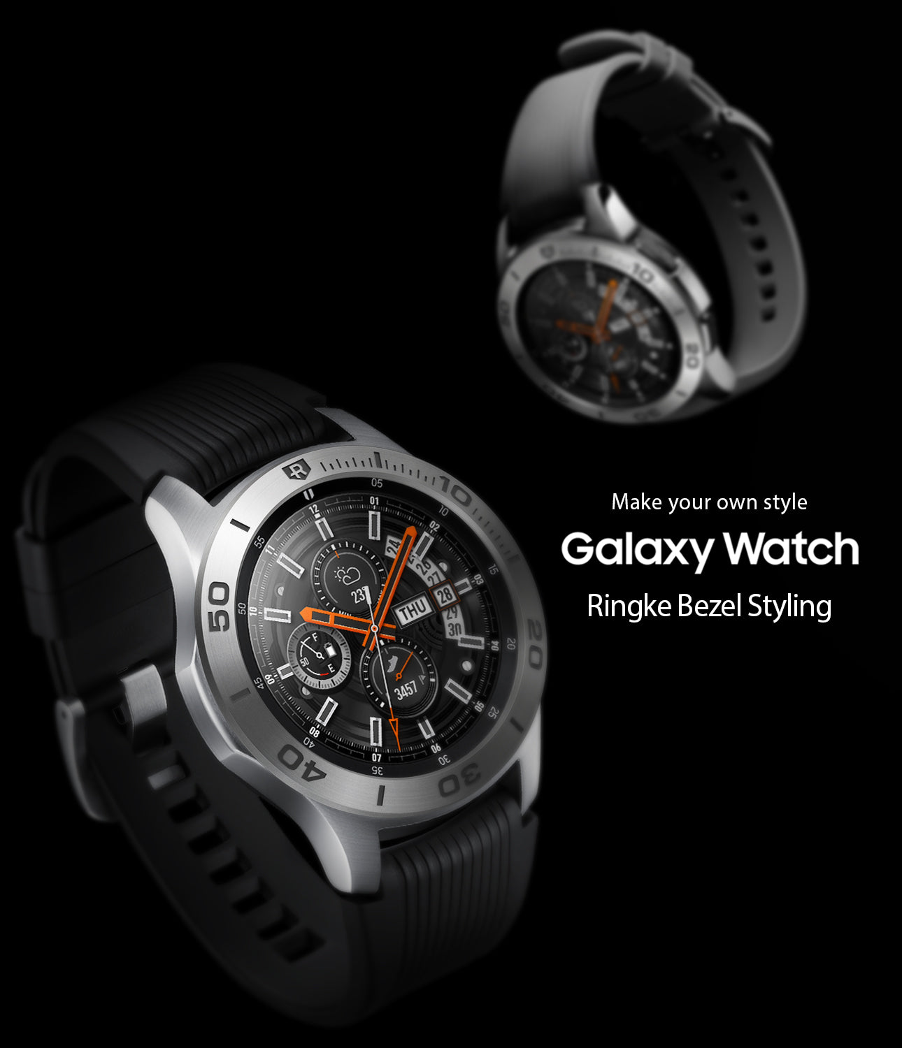 ringke bezel styling for samsung galaxy watch 46mm silver stainless steel