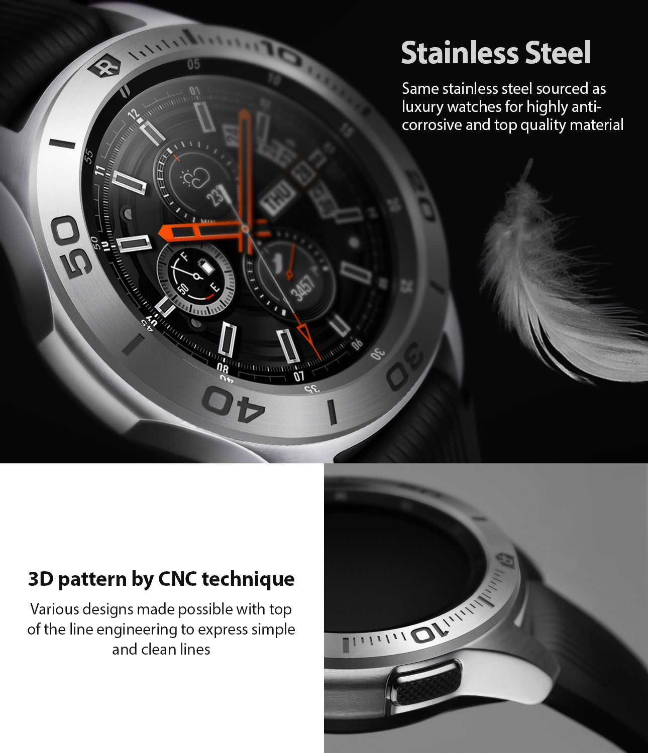 ringke bezel styling for samsung galaxy watch 46mm silver stainless steel - 3d pattern engraved with cnc technique