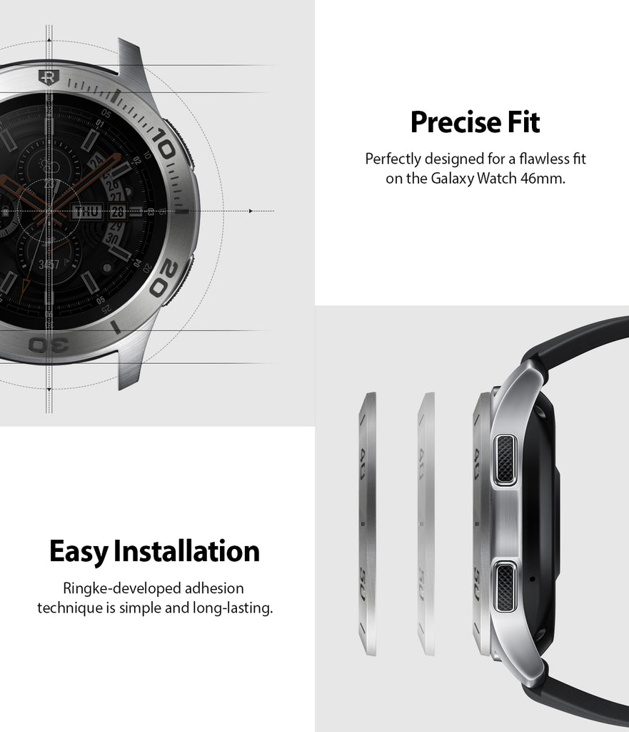 ringke bezel styling for samsung galaxy watch 46mm silver stainless steel easy installation