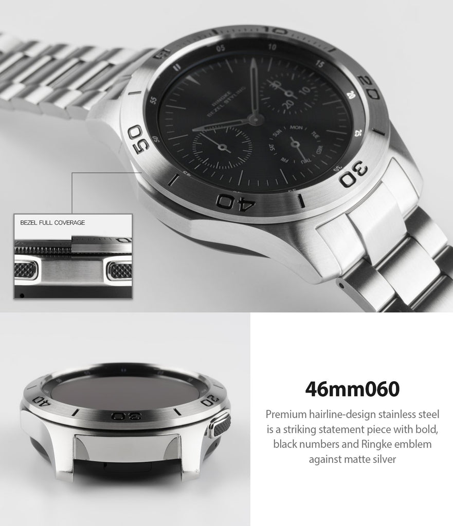 ringke bezel styling for samsung galaxy watch 46mm silver stainless steel seamless fit