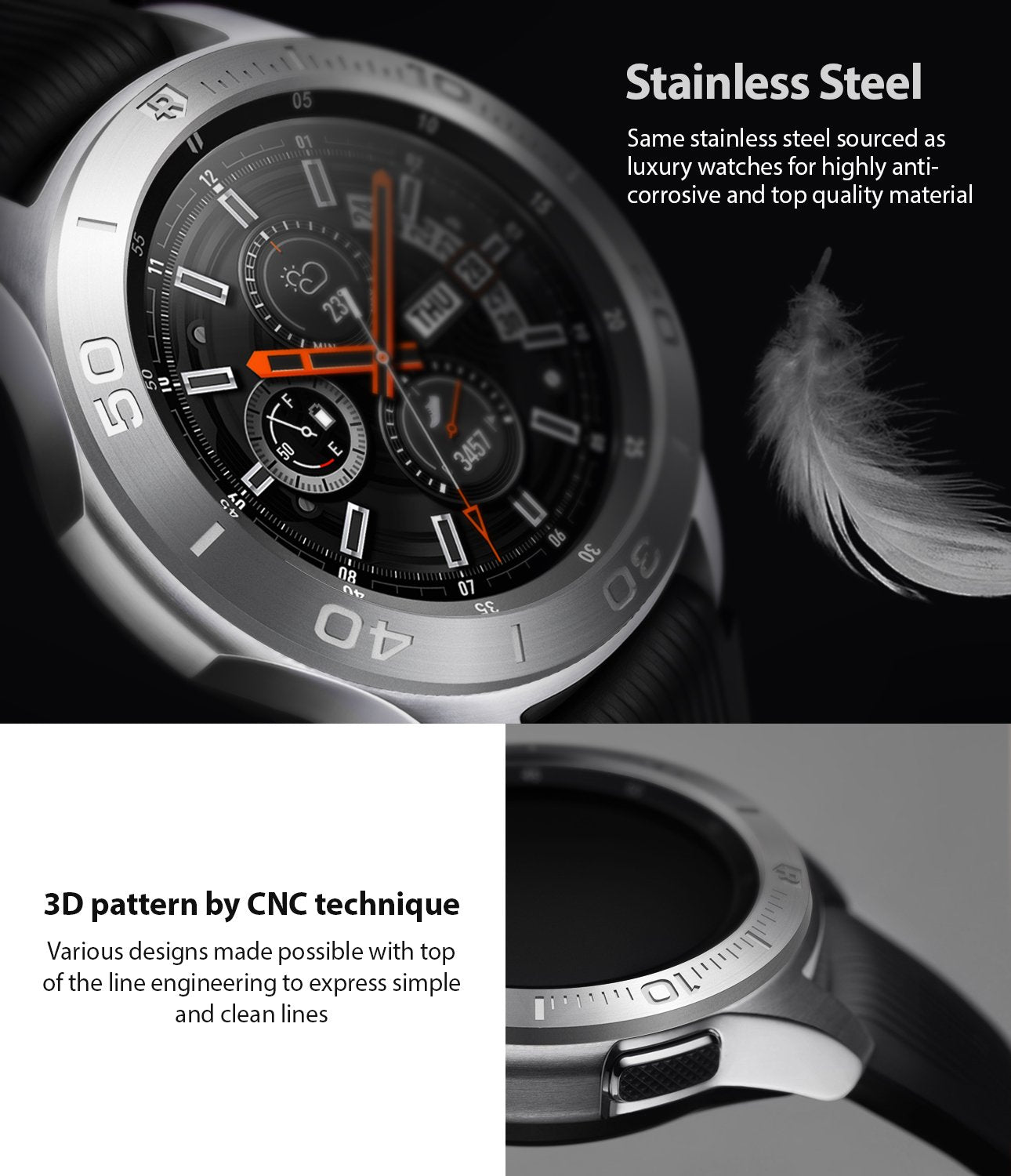 ringke bezel styling for galaxy watch 46mm made with high quality silver stainless silver 3d pattern engraved with cnc technology