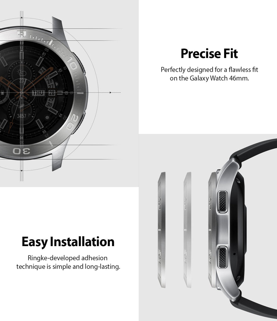 ringke bezel styling for galaxy watch 46mm made with high quality silver stainless silver easy installation with perfect fit