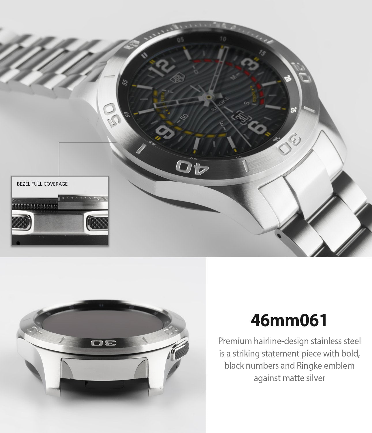 ringke bezel styling for galaxy watch 46mm made with high quality silver stainless silver seamless fit