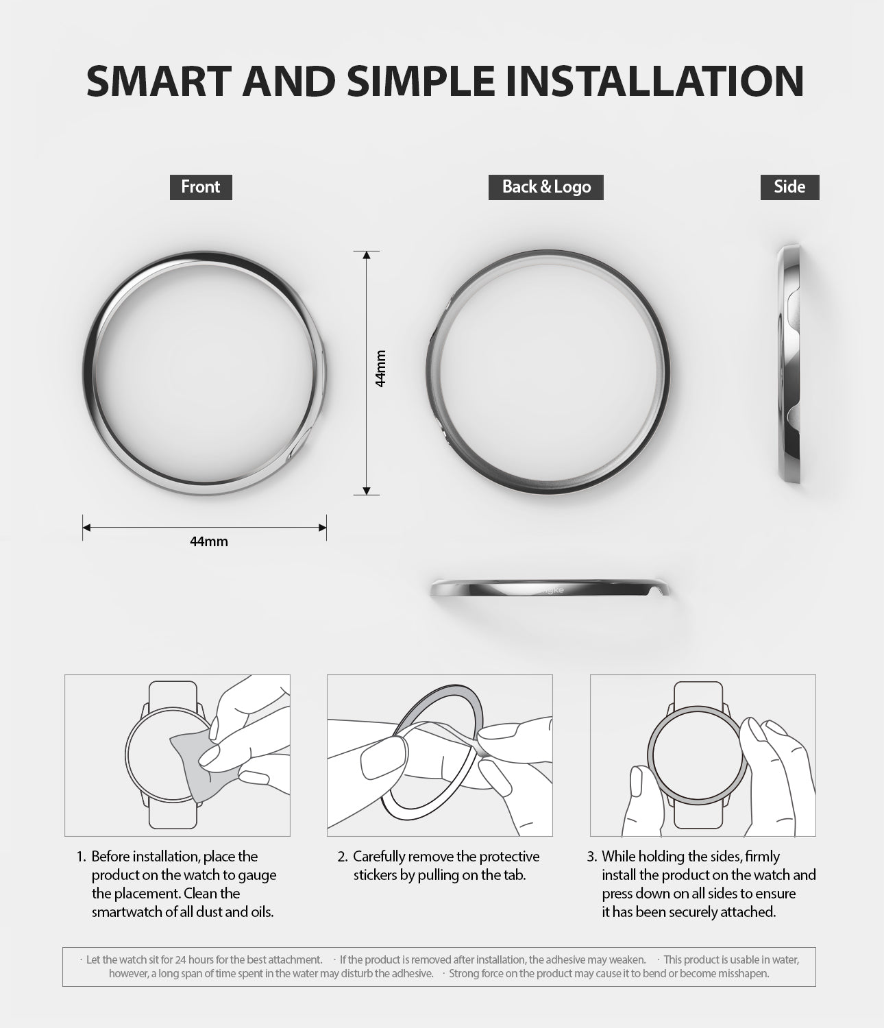 ringke bezel styling for galaxy watch active 2 44mm stainless steel smart and simple installation guide using strong 3m adhesive