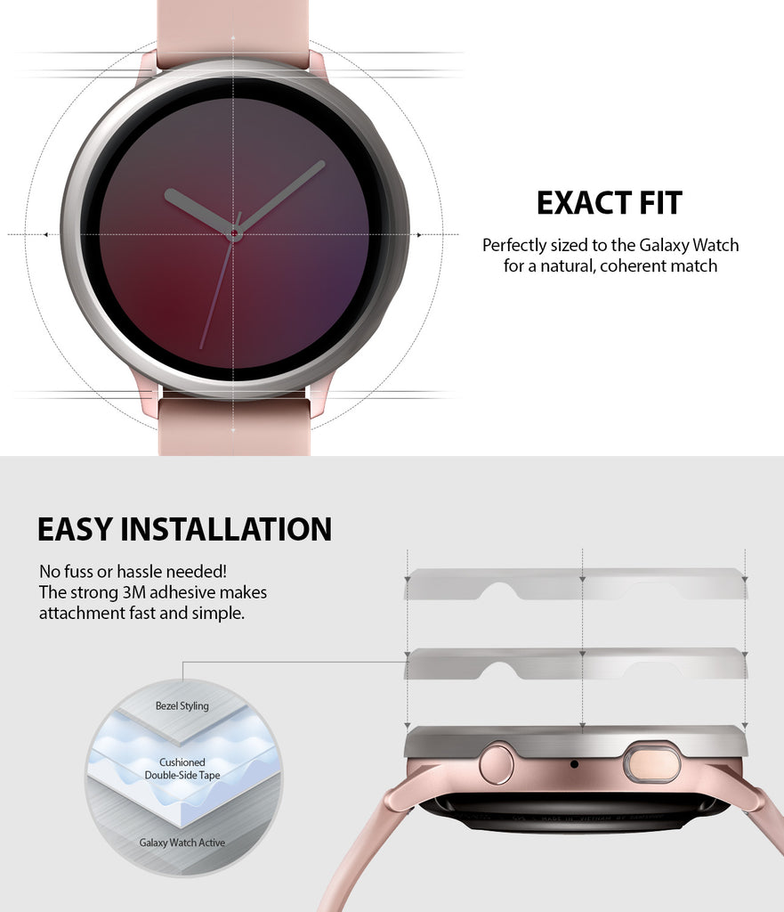 ringke bezel styling for galaxy watch active 2 40mm made with high quality stainless steel scratch resistant material