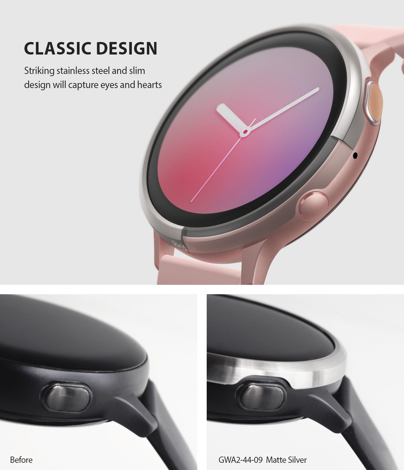 ringke bezel styling for galaxy watch active 2 44mm stainless steel classic design
