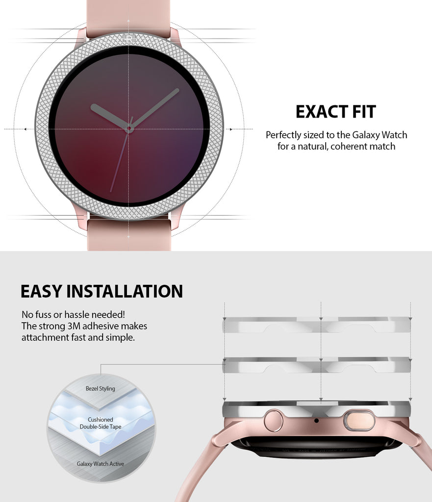 ringke bezel styling for galaxy watch active 2 44mm stainless steel seamless fit and easy installation