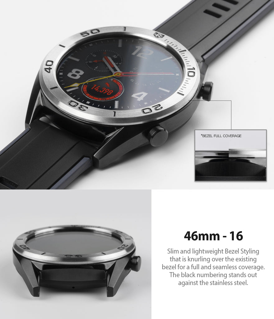 Ringke Bezel Styling for Huawei Watch GT 46mm 46-16 Silver, perfect fit