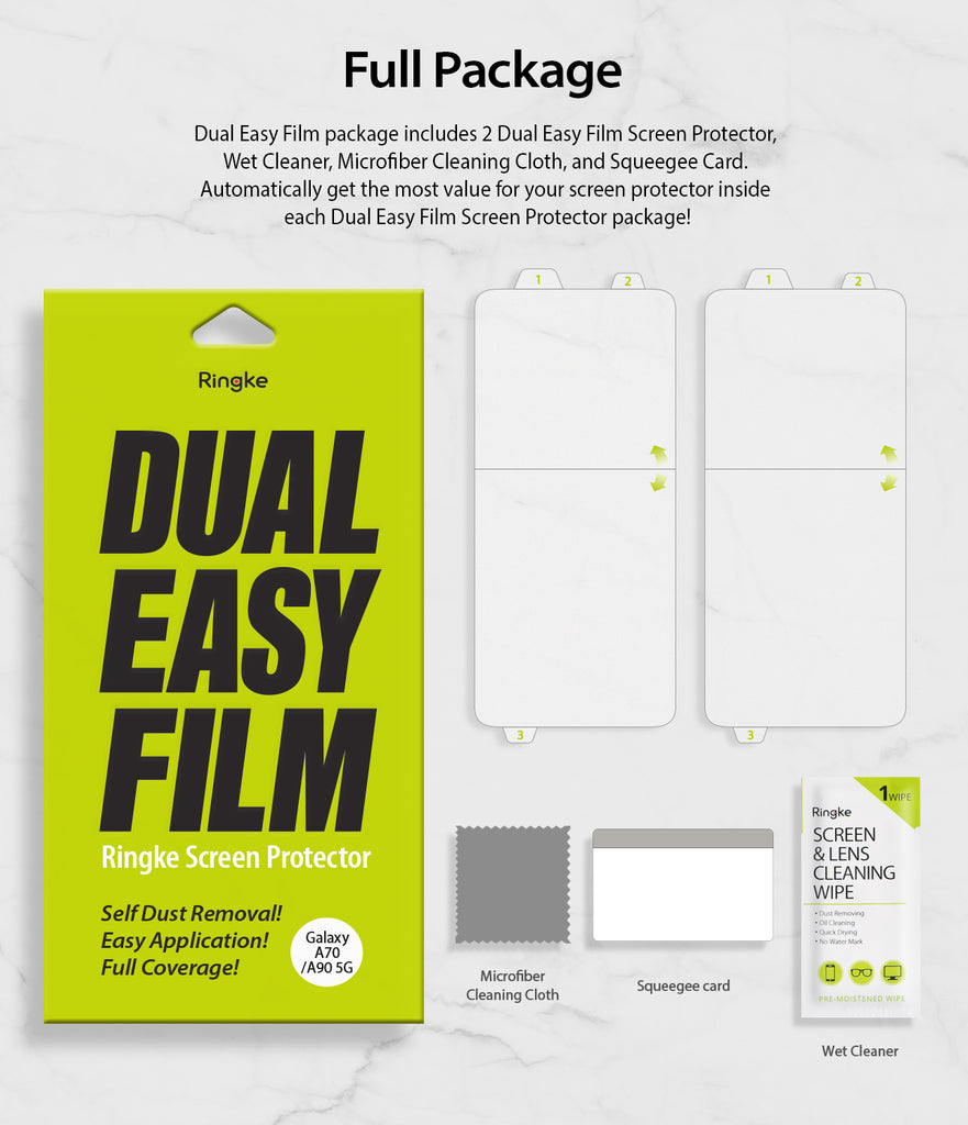 full package include 2 dual easy films, wipe, squeegee card, microfiber cleaning cloth