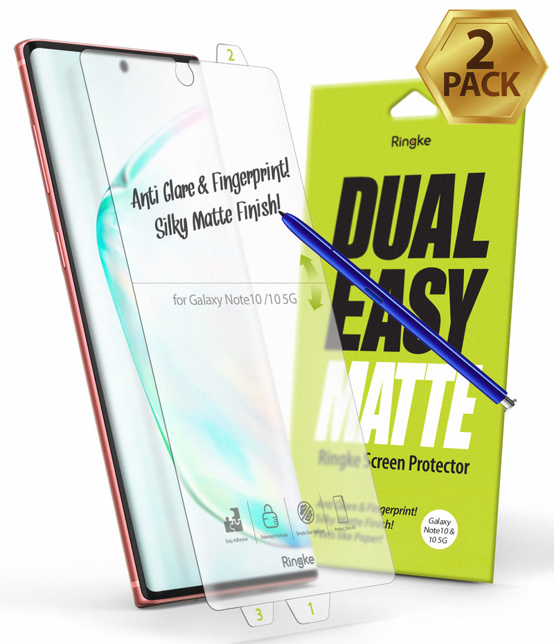 Galaxy Note 10 [Dual Easy Film Matte] Screen Protector [2 Pack]