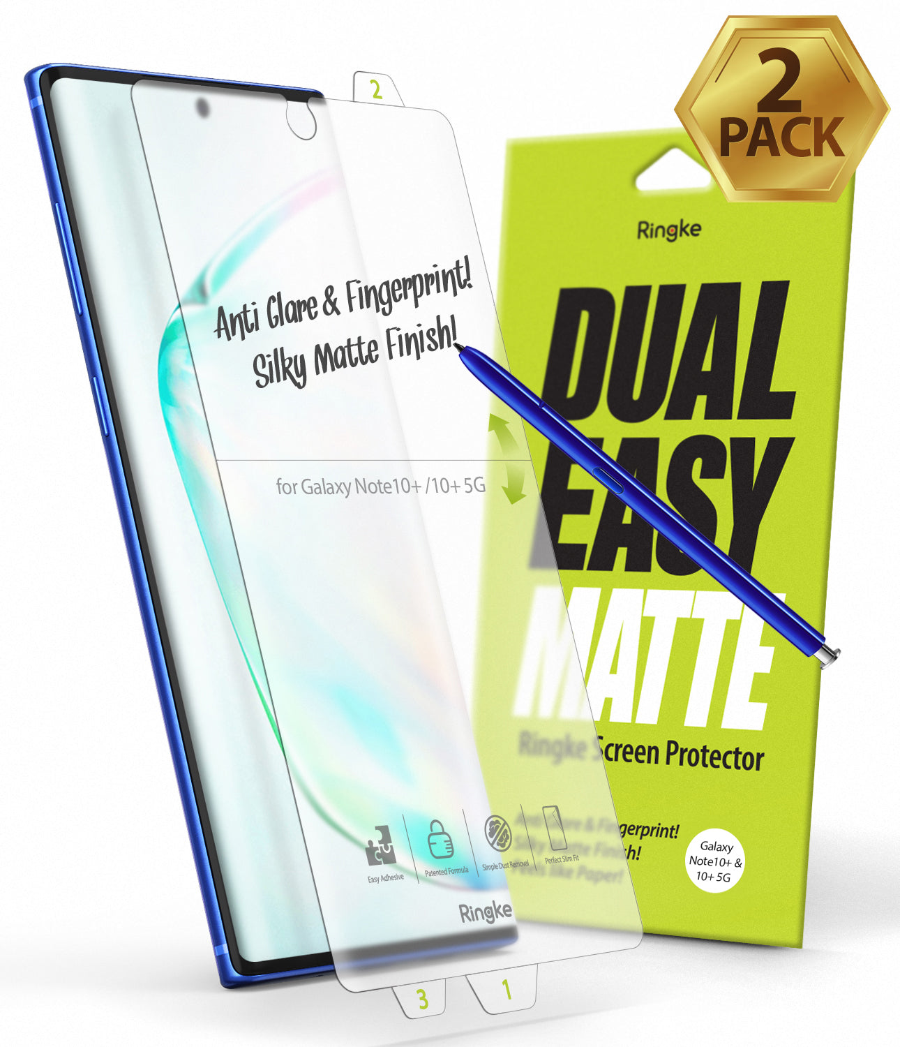 Galaxy Note 10 Plus [Dual Easy Film Matte] Screen Protector [2 Pack]