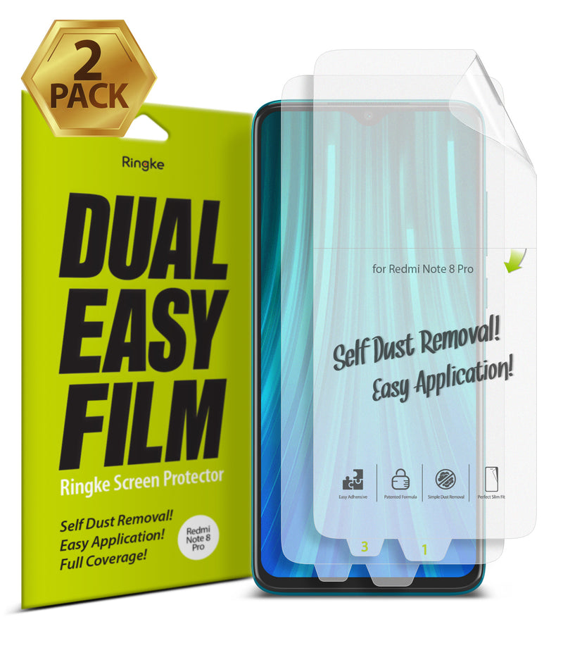 Xiaomi Redmi Note 8 Pro [Dual Easy Full Cover] Screen Protector [2 Pack]