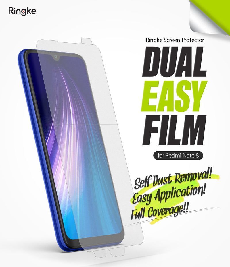Ringke Dual Easy Film (2 Pack) Designed for Xiaomi Redmi Note 8 Screen Protector (2019)