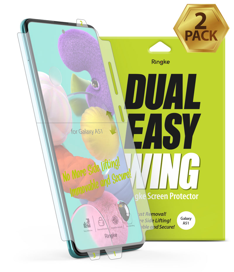 Galaxy A51 [Dual Easy Film Wing] Screen Protector [2 Pack]