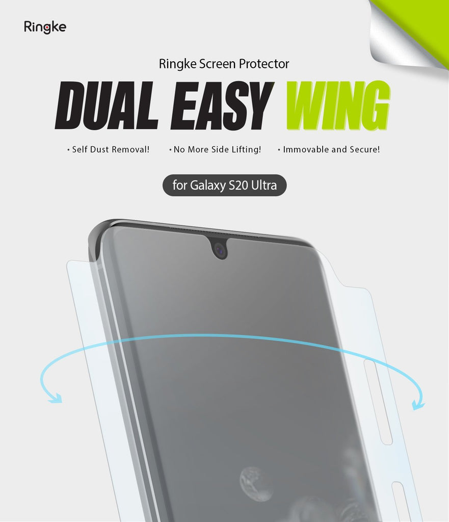 Ringke Galaxy S20 Ultra, Dual Easy Film Wing, Screen Protector, 2 pack
