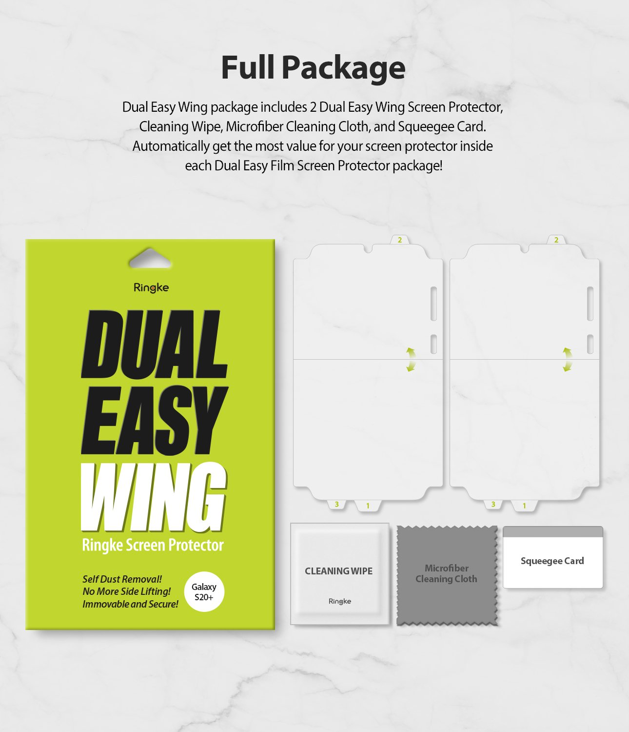 Galaxy S20 Plus ringke Dual Easy Film Wing Screen Protector 2 pack, full package