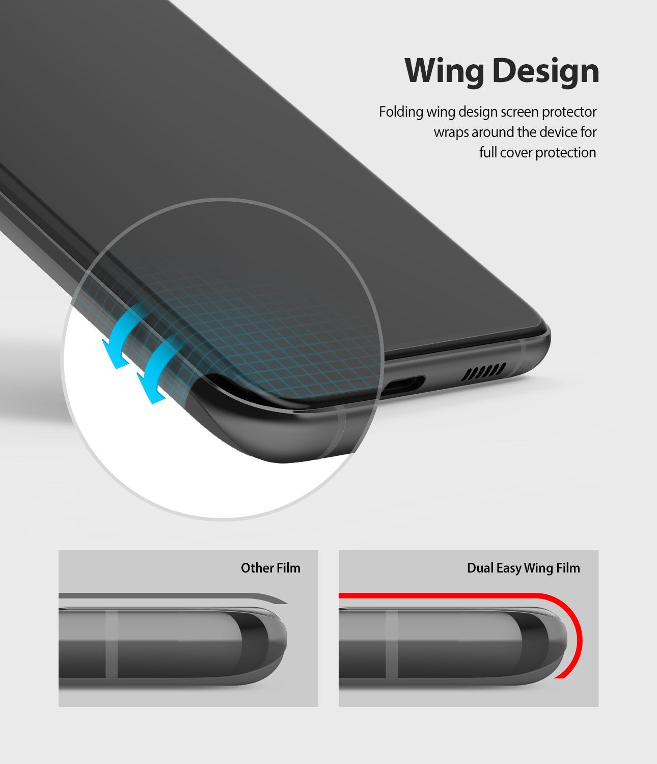 Galaxy S20 Plus ringke Dual Easy Film Wing Screen Protector 2 pack, wing design