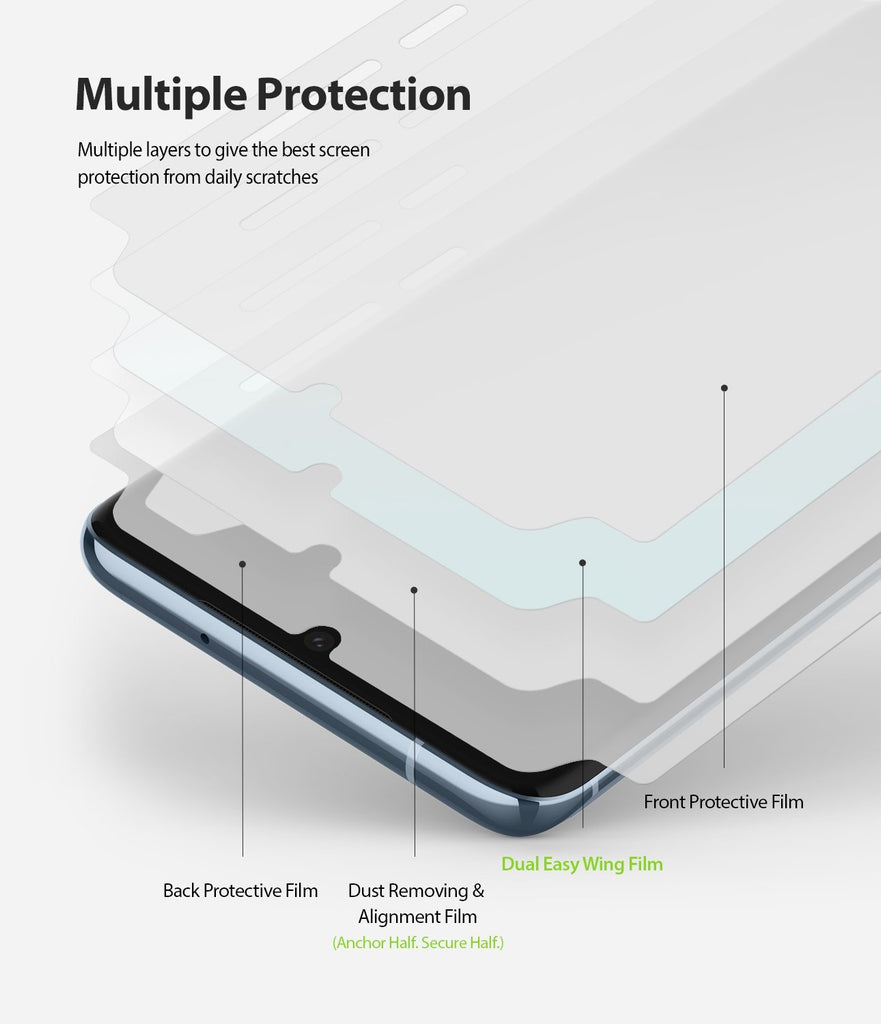 Galaxy S20 Screen Protector Dual Easy Film Wing, 2 pack, multiple protection