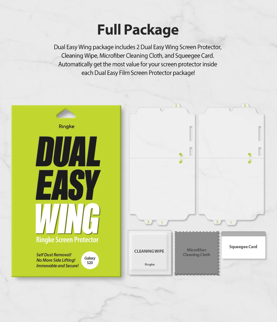 Galaxy S20 Screen Protector Dual Easy Film Wing, 2 pack, full package