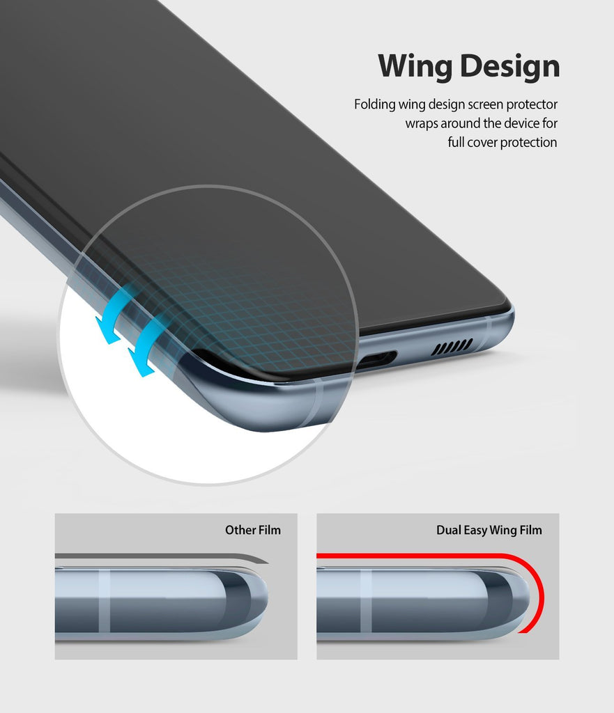 Galaxy S20 Screen Protector Dual Easy Film Wing, 2 pack, wing design