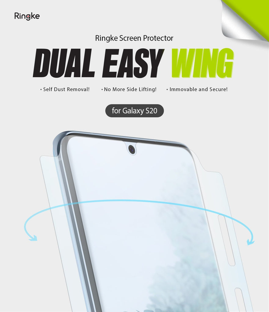 Galaxy S20 Screen Protector Dual Easy Film Wing, 2 pack