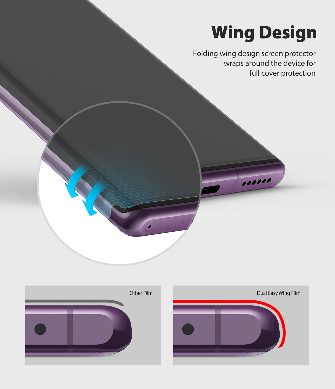 folding wing design screen protector wraps around the device for full cover protectioln