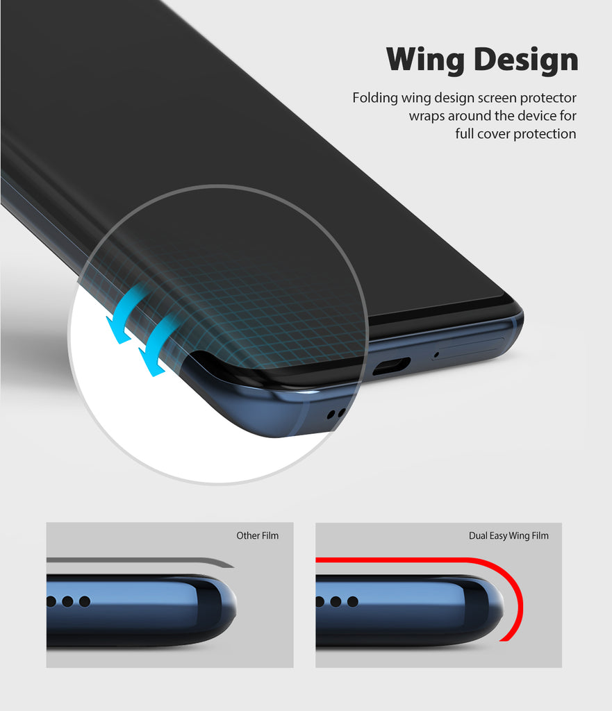 wing design to wrap around both sides of the device