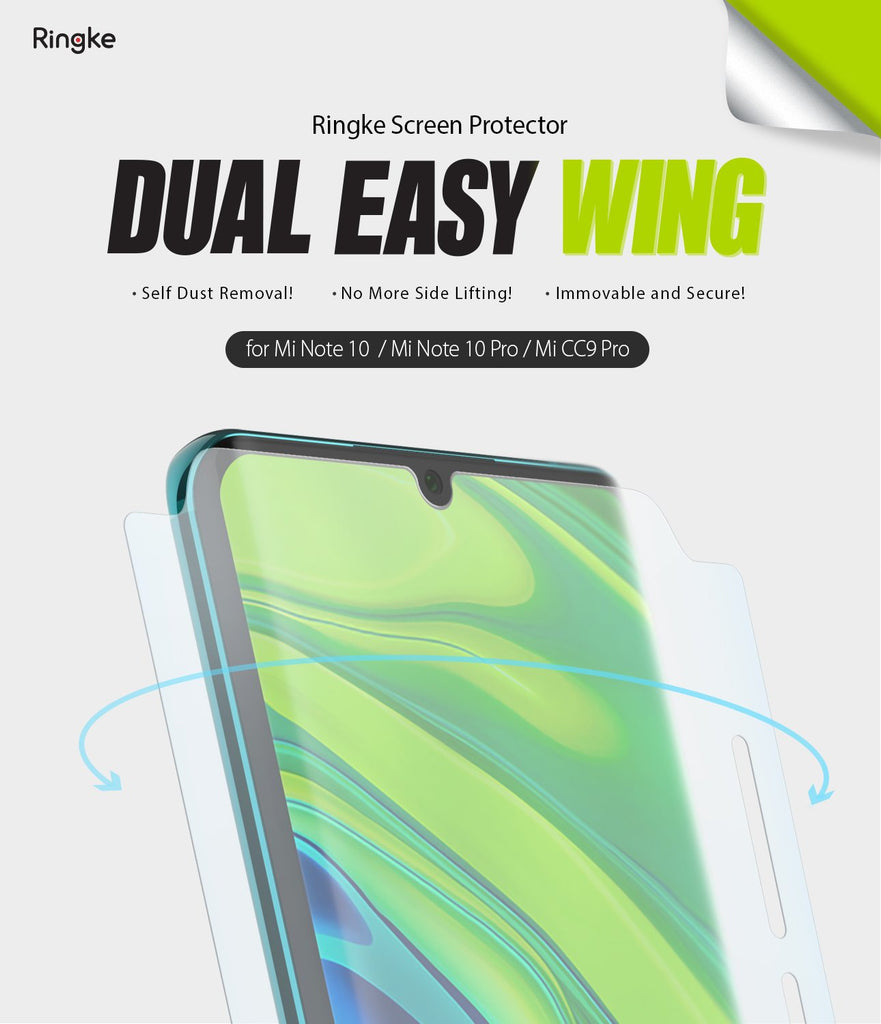 Xiaomi Mi Note 10 [Dual Easy Film Wing] Screen Protector [2 Pack]