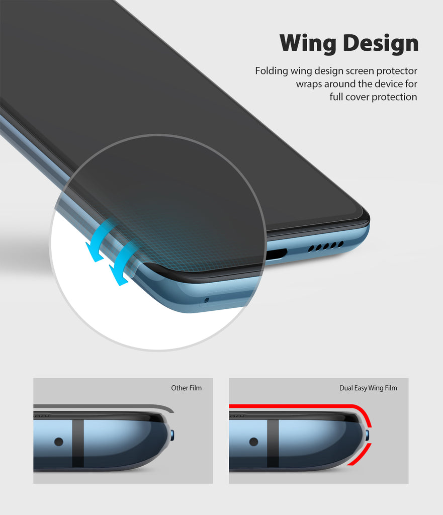 folding wing design screen protector wraps around the device for full cover coverage