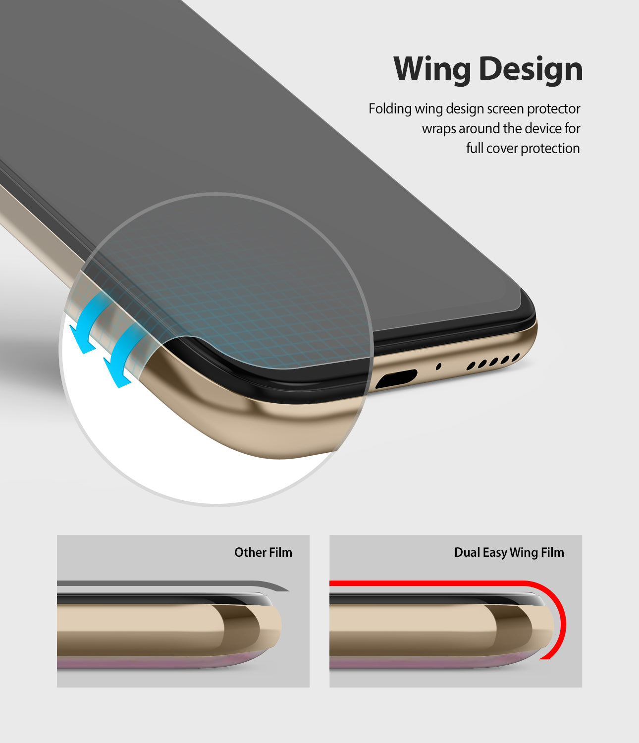 wing design - folding wing design wraps around the device for full cover protection