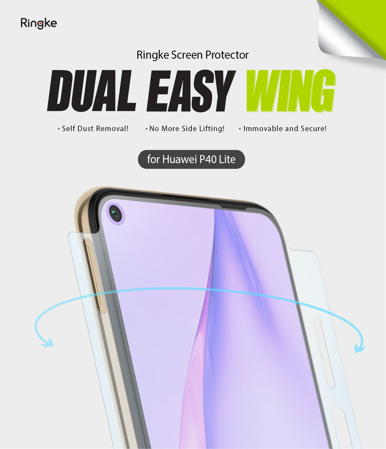 dual easy wing film screen protector for huawei p40 lite