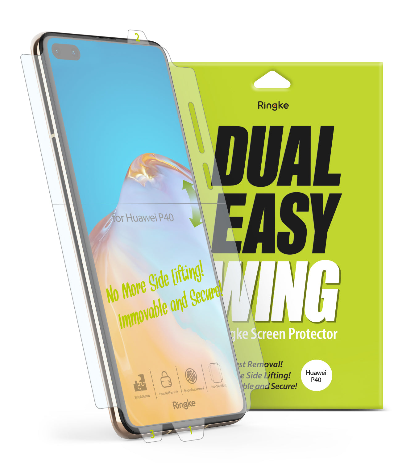 ringke dual easy wing film for huawei p40