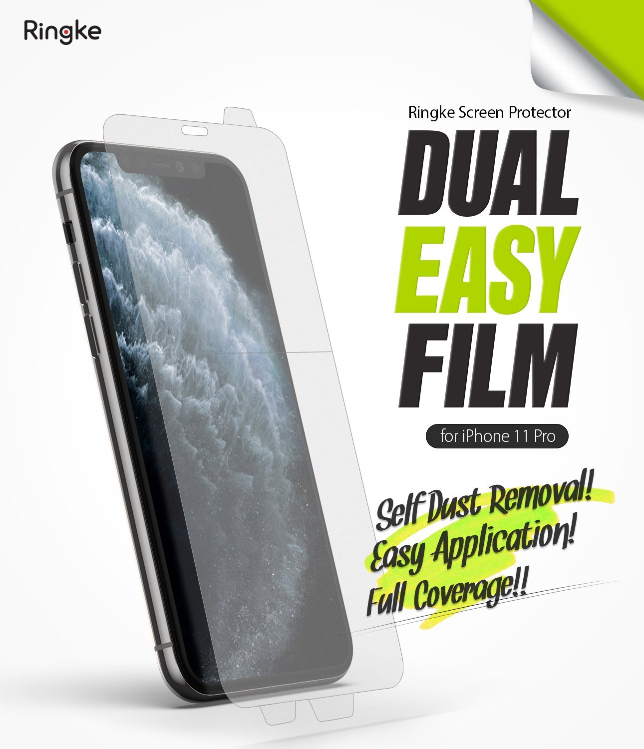 iPhone 11 Pro Screen Protector Dual Easy Film 2 Pack