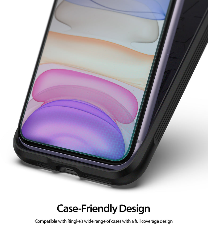 Ringke Dual Easy Film Screen Protector for iPhone 11 Case-Friendly Design