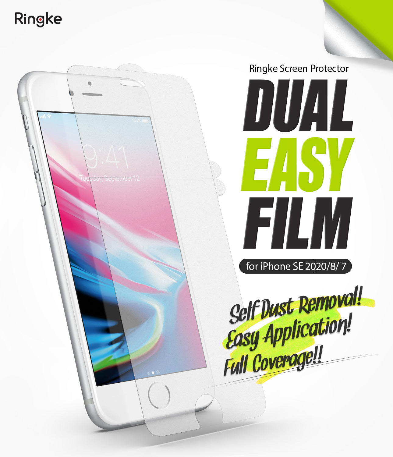 ringke dual easy film screen protector designed for apple iphone 7 / iphone 8 / iphone se 2020