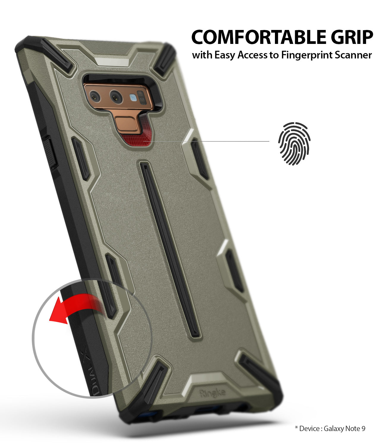 comfortable grip with easy access to fingerprint scanner