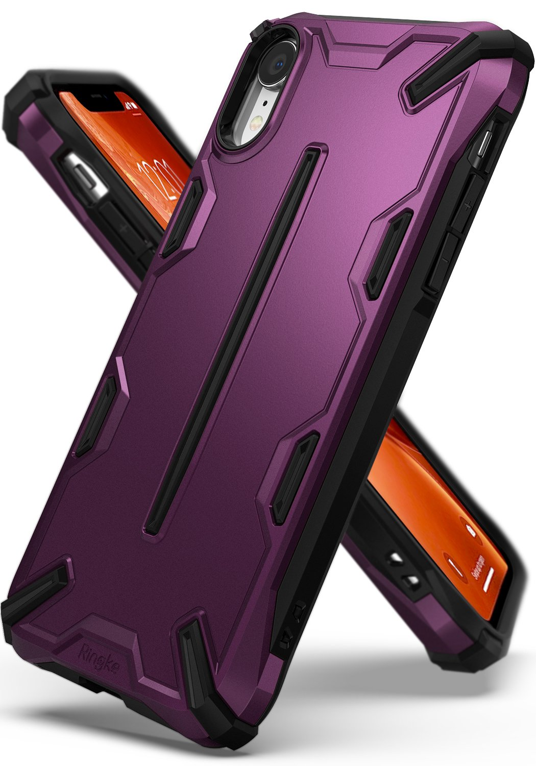 ringke dual-x for iphone xr case cover main metallic purple