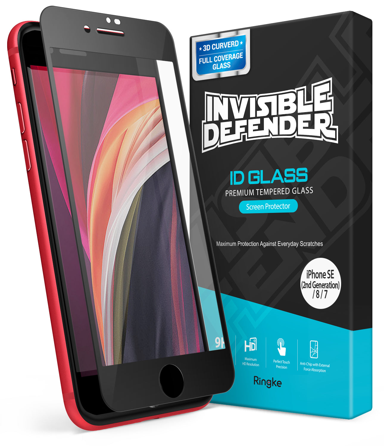 invisible defender glass full cover for iphone se 2020 / iphone 8 / iphone 7