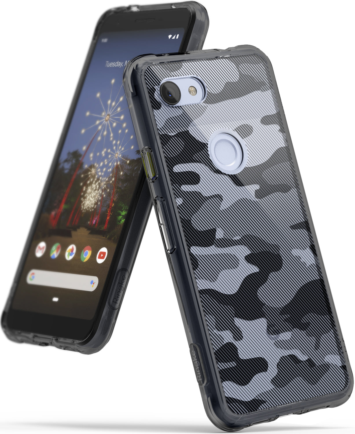 ringke fusion clear transparent protective back case cover for google pixel 3a main camo black