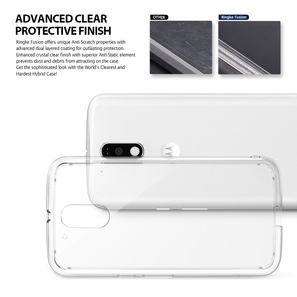 ringke fusion clear transparent hard back cover case for moto g4 and g4 plus main advanced clear finish