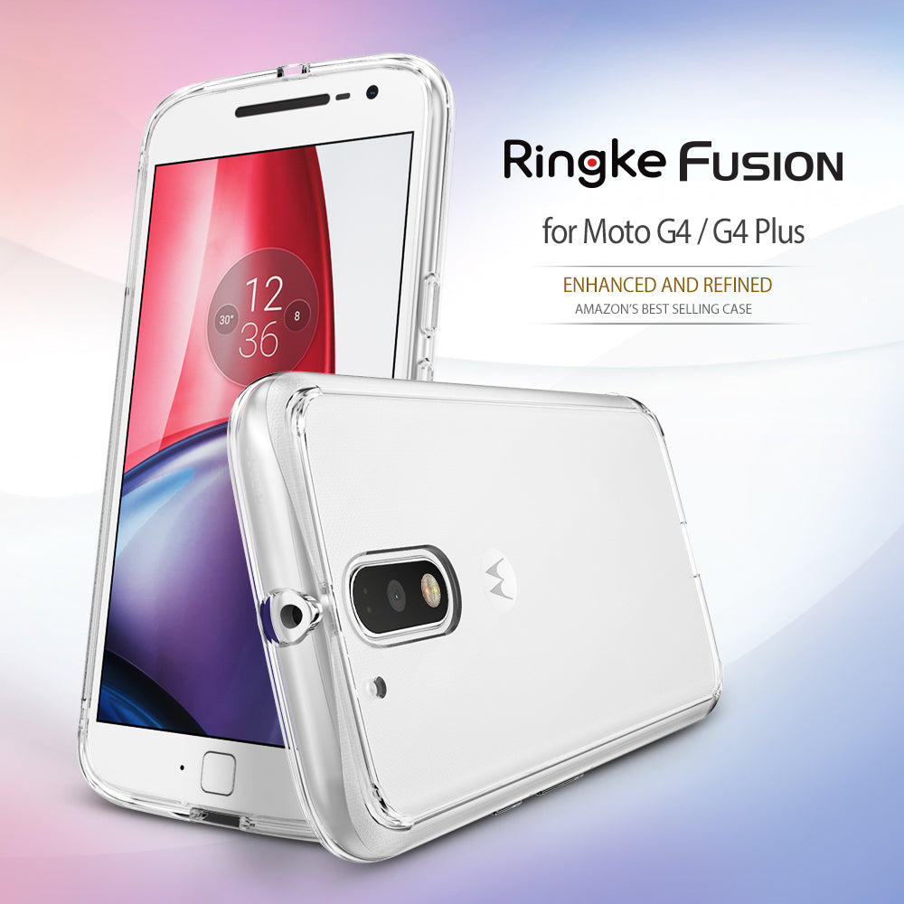 ringke fusion clear transparent hard back cover case for moto g4 and g4 plus main