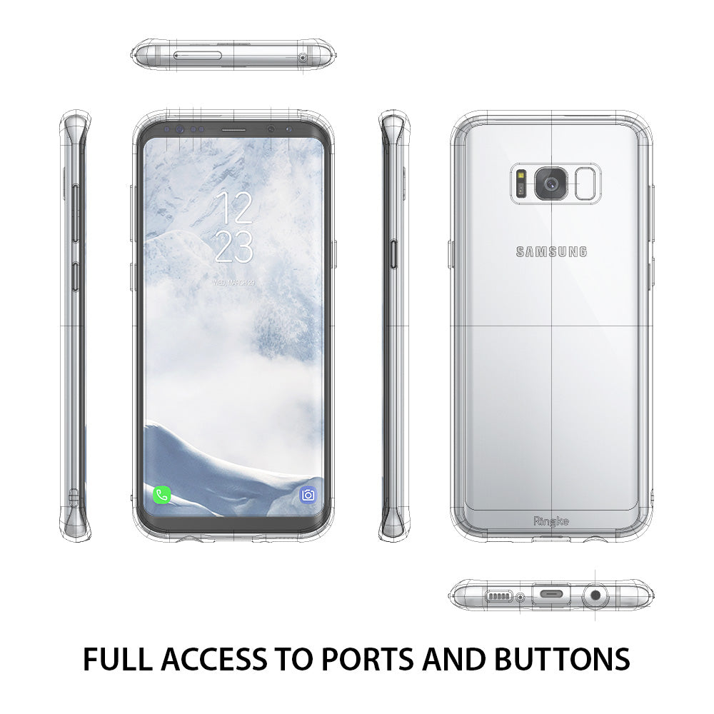 ringke fusion clear transparent hard back cover case for galaxy s8 plus full access to ports and buttons