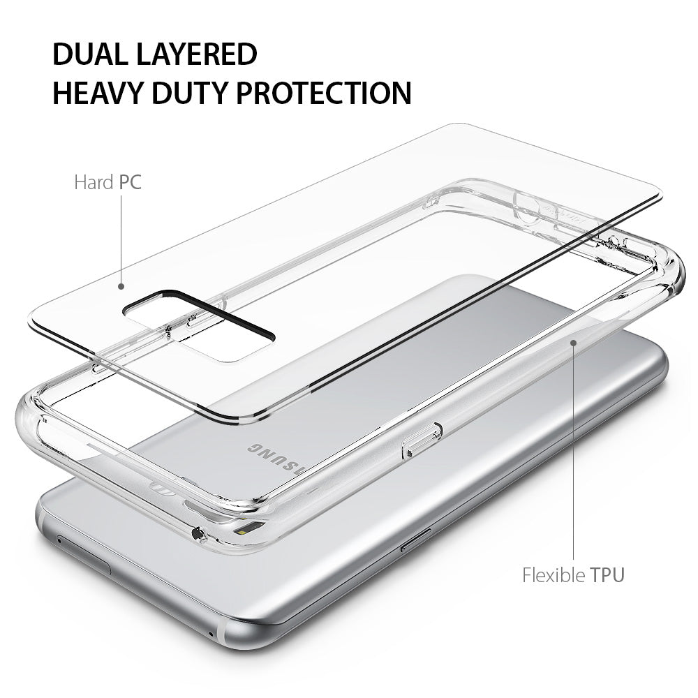 ringke fusion clear transparent hard back cover case for galaxy s8 plus dual layered protection