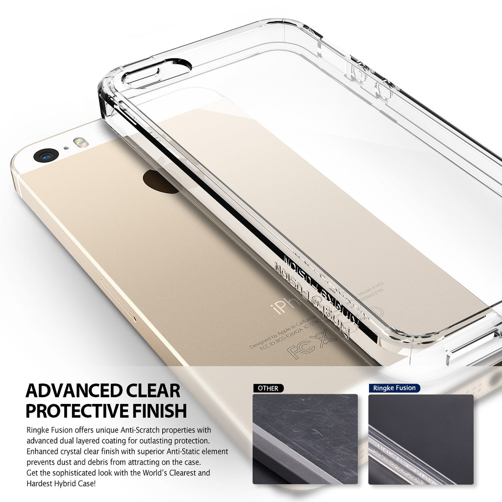 ringke fusion transparent clear back case cover for iphone se 5s 5 main transparent view