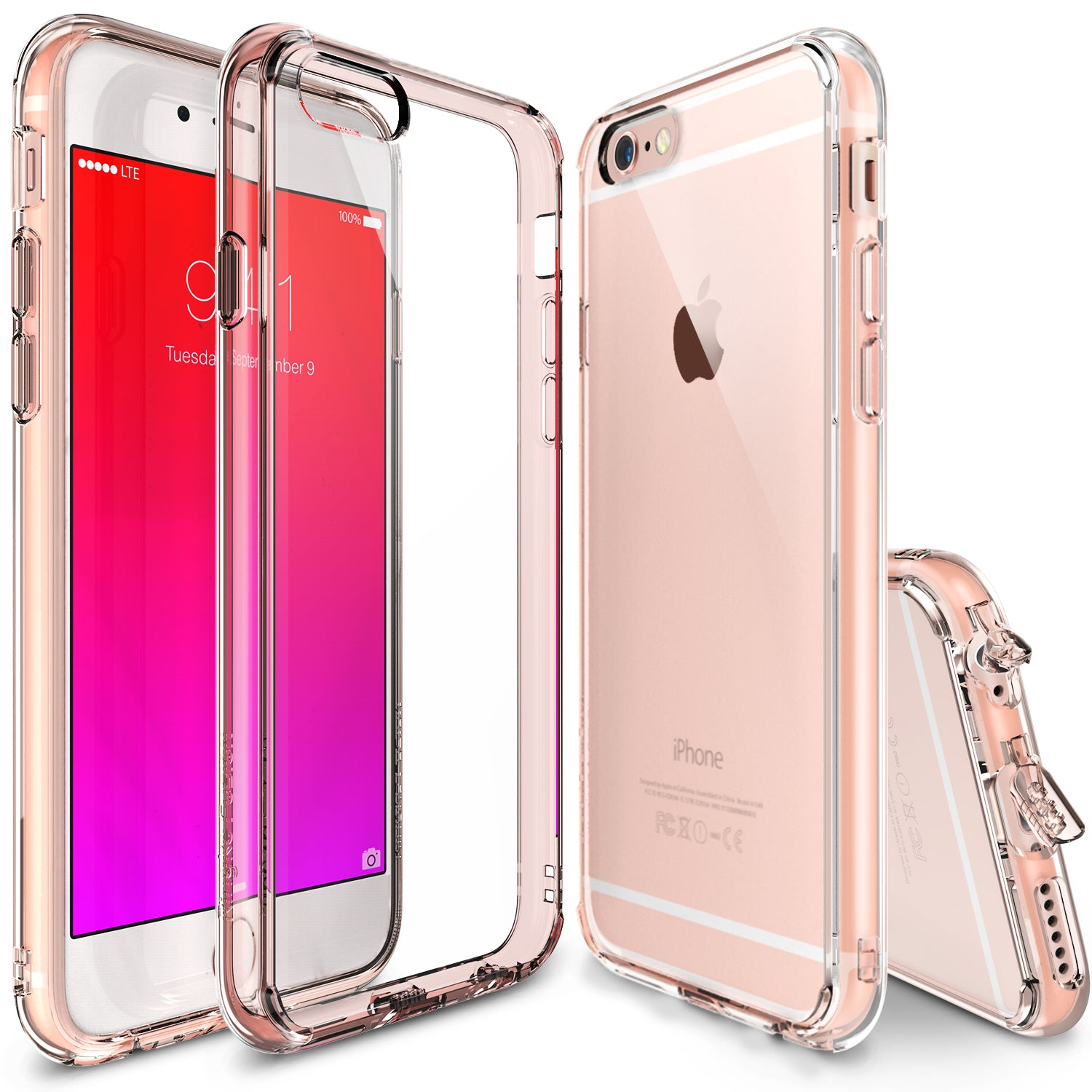 ringke fusion transparent clear back protective bumper case cover for iphone 6 plus 6s plus rose gold