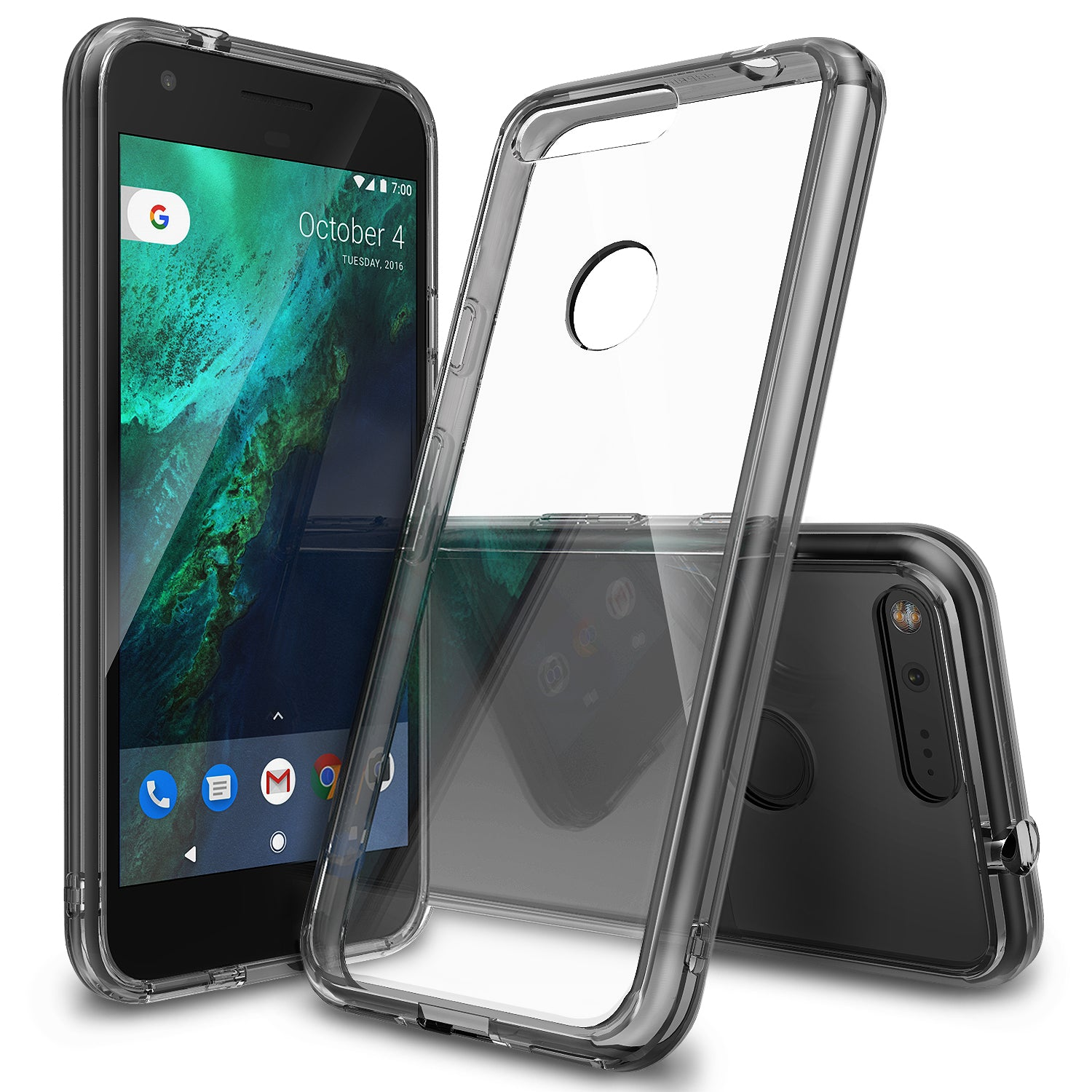 ringke fusion clear transparent hard back case cover for google pixel main clear