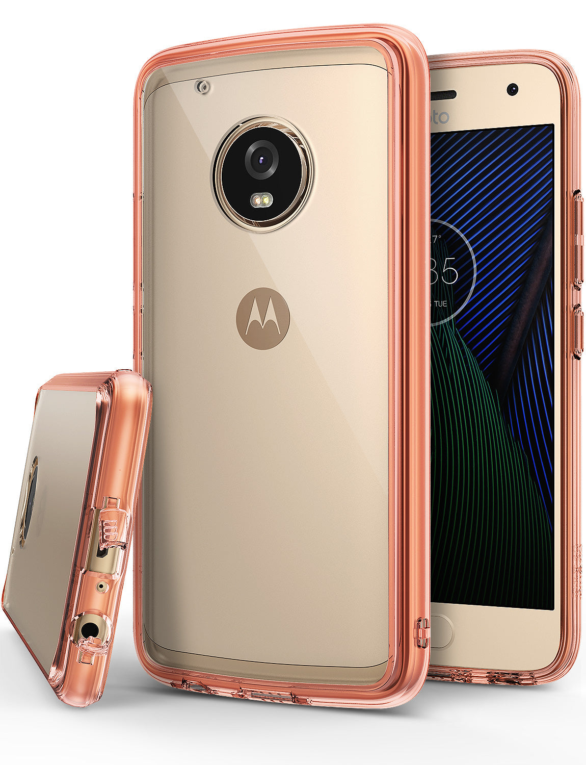 ringke fusion clear transparent hard pc back cover case for moto g5 plus main rose gold