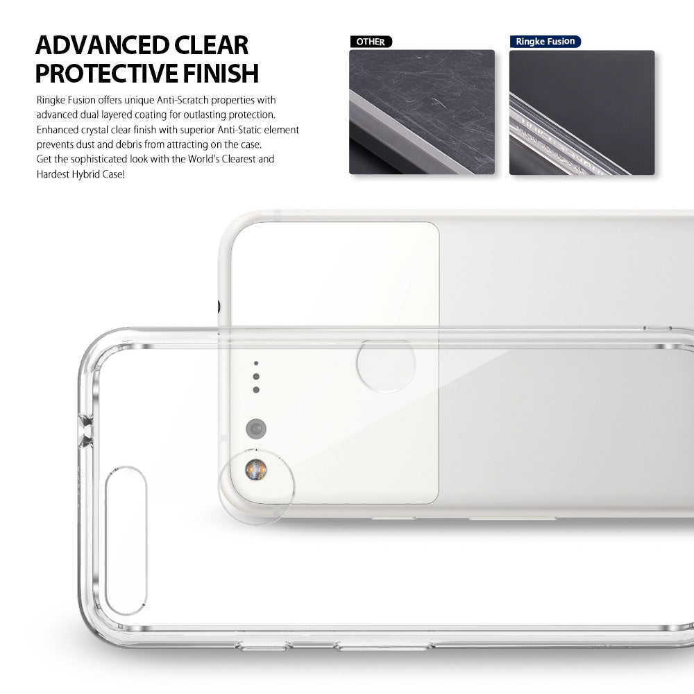 ringke fusion clear transparent hard back case cover for google pixel main crystal clear