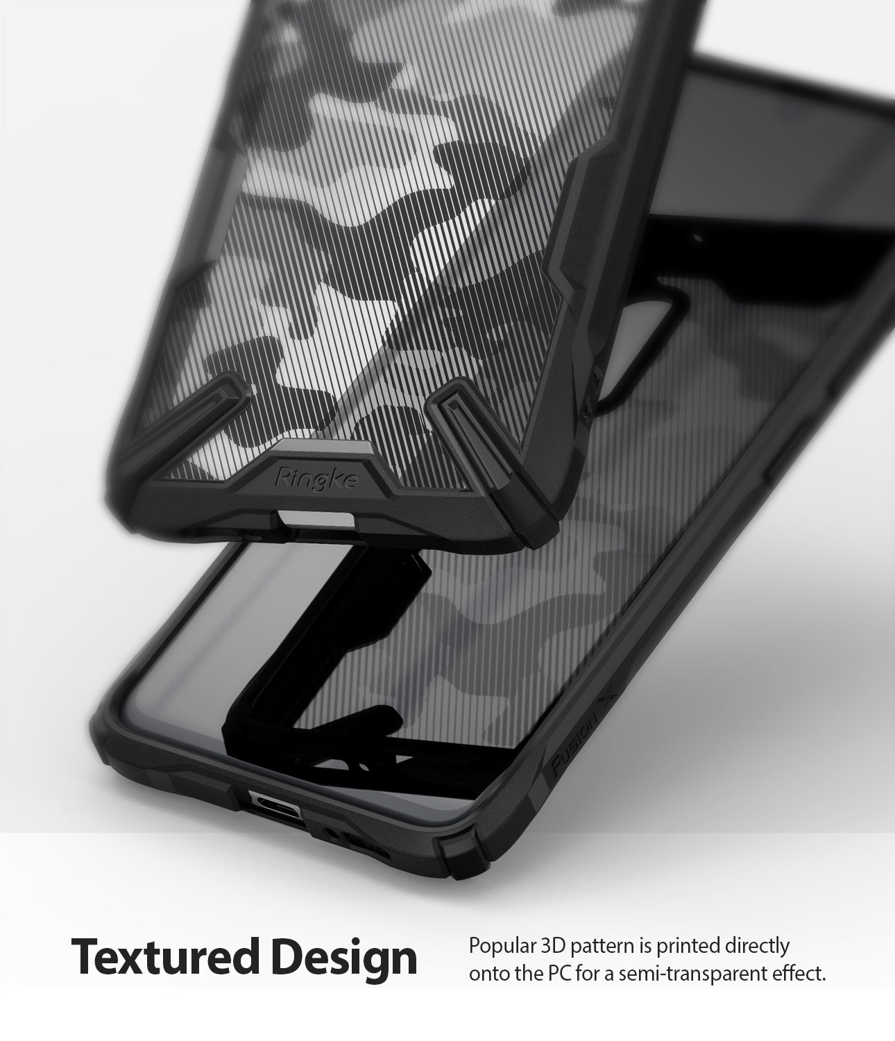 popular 3d camo pattern printed directly onto the pc for a semi transparent effect